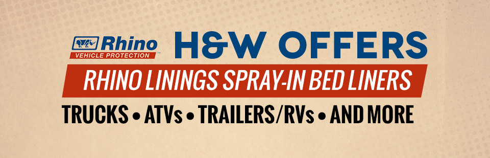 H&W offers Rhino Linings spray-in bed liners for trucks, ATVs, ...