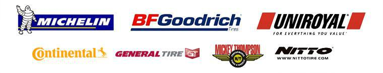 We proudly offer products from Michelin®, BFGoodrich®, Uniroyal®, Continental, General Tire, Mickey Thompson, and Nitto.