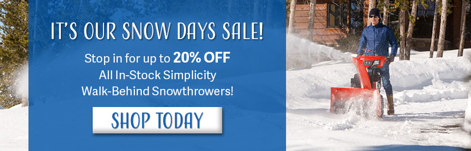 UP TO 20% OFF IN STOCK WALK BEHIND SNOWTHROWERS!!