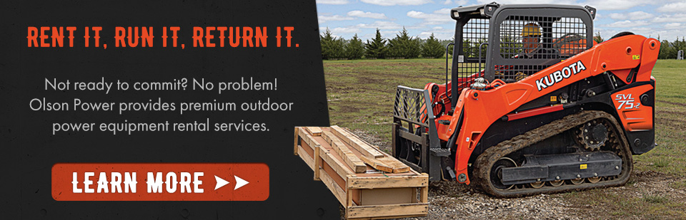 Rent Kubota Excavators, Skid Steers, Attachments, Trailers & More - MN Top outdoor Power Equipment