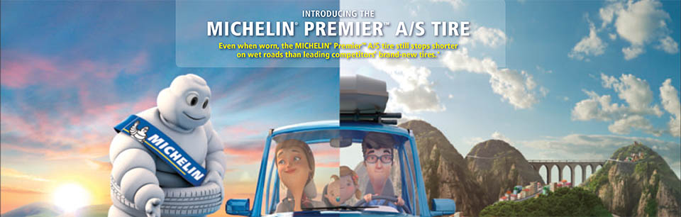 Introducing the Micheline Premier A/S Tire - Even when worn, the Michelin Premier A/S tire still stops shorter on wet roads than leading competitors brand-new tires.