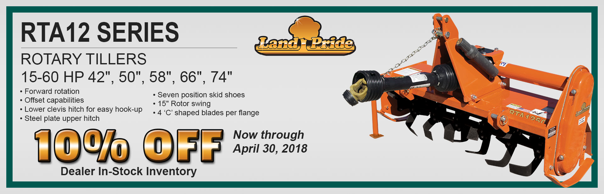 Land Pride RTA12 Series Rotary Tiller 10% Off Sale
