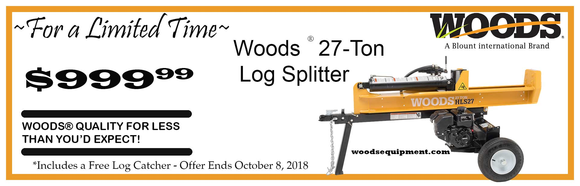 Woods HLS27 Log Splitter