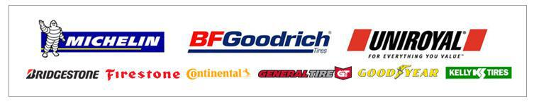 We carry products from Michelin®, BFGoodrich®, Uniroyal®, Bridgestone, Firestone, Continental, General, Goodyear, and Kelly.