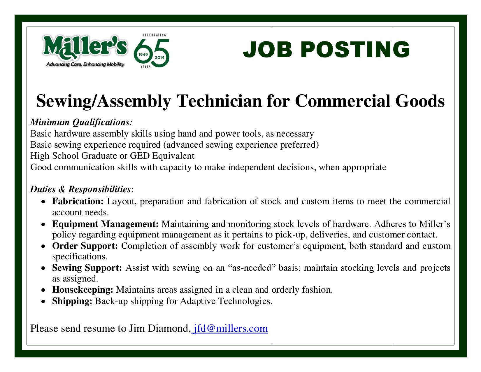 Assembly-Sewing Technician for Commercial Goods