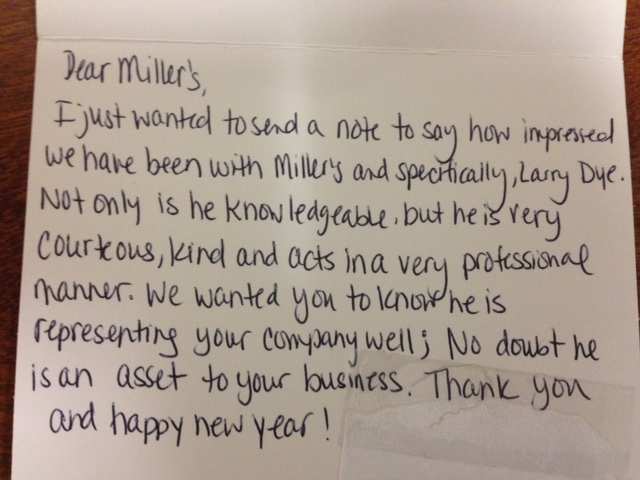 GREAT job Larry Dye – this client loves Miller's!