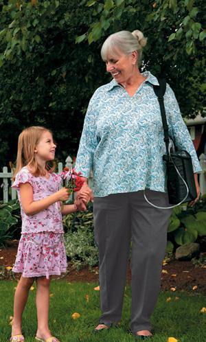 Woman Using Portable Oxygen