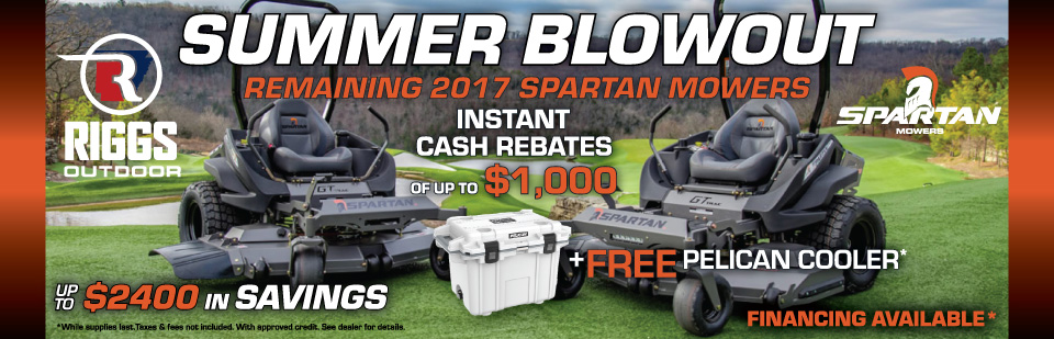 Spartan Mower Instant Cash Rebates +Pelican Cooler