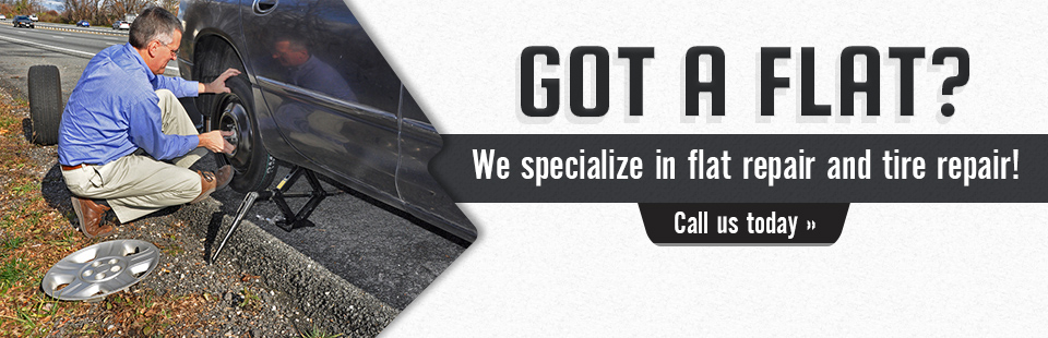 We specialize in flat repair and tire repair! Call (301) 585-2740 today.