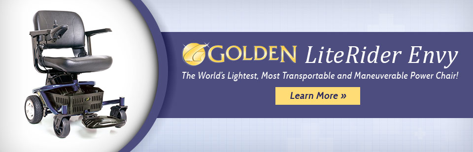 The Golden LiteRider Envy is the world's lightest, most transportable and maneuverable power chair! Click here to learn more.