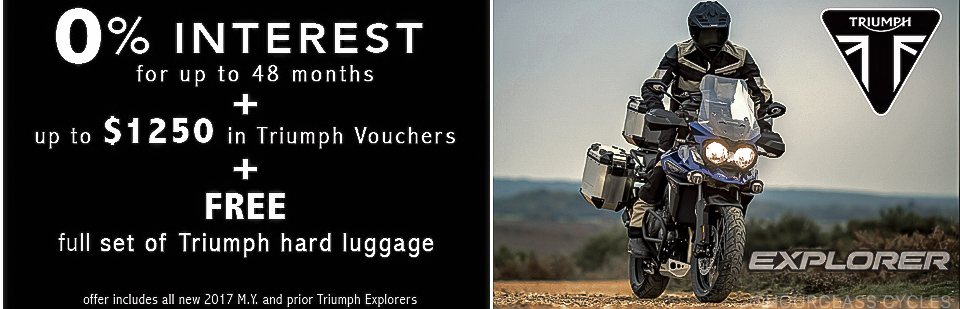 0% Interest + $1250 in Triumph vouchers + Free Luggage on new Explorers!