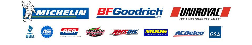 We carry products from Michelin®, BFGoodrich®, Uniroyal®, Interstate Batteries, AMSOIL, Moog, and ACDelco. We are affiliated with the BBB, ASA, and GSA. Our technicians are ASE certified.