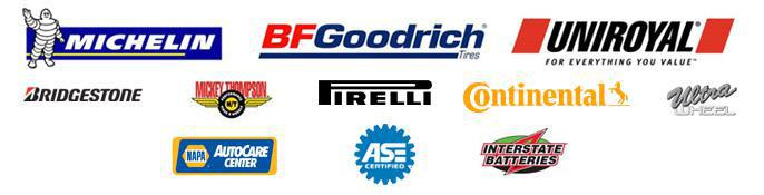 We proudly offer products from: Michelin®, BFGoodrich®, Uniroyal®, Bridgestone, Mickey Thompson, Pirelli, Continental, and Ultra. We are a NAPA AutoCare Center and ASE certified. We also carry Interstate Batteries.