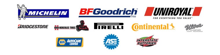 We proudly offer products from: Michelin®, BFGoodrich®, Uniroyal®, Bridgestone, Hercules, Pirelli, Continental, and Ultra. We are a NAPA AutoCare Center and ASE certified. We also carry Interstate Batteries.