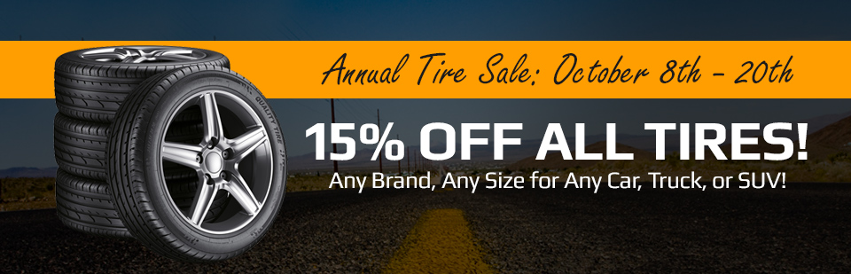Stop October 8th through 20th in for our Annual Tire Sale!