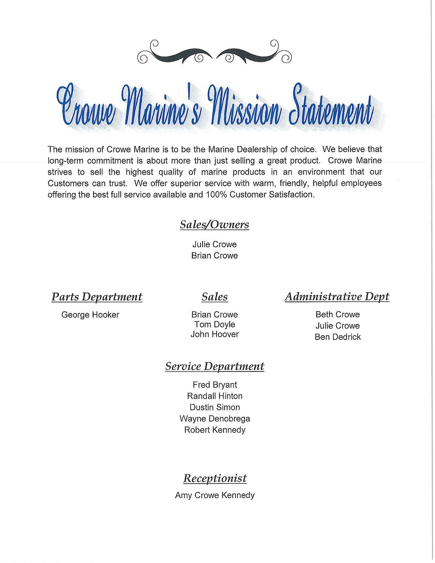 Crowe Marine Mission Statement