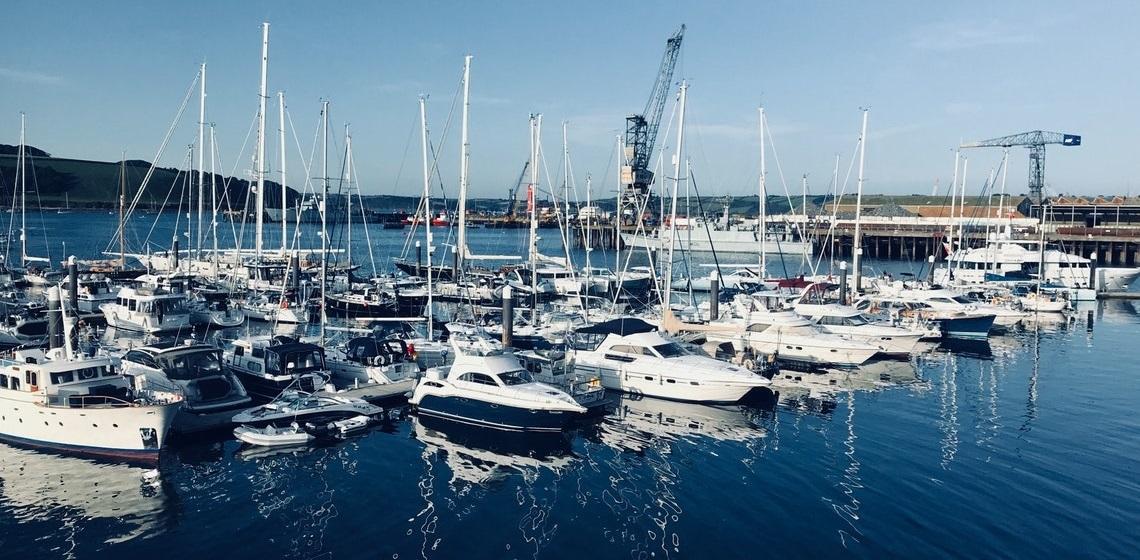 Boats and yachts in marina