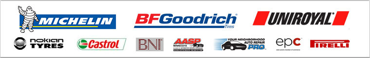 We proudly carry products from Michelin®, BFGoodrich®, Uniroyal®, Nokian and Castrol. We are associated with BNI, AASP Minnesota, Your Neighborhood Auto Repair Pro, EPC and Pirelli.