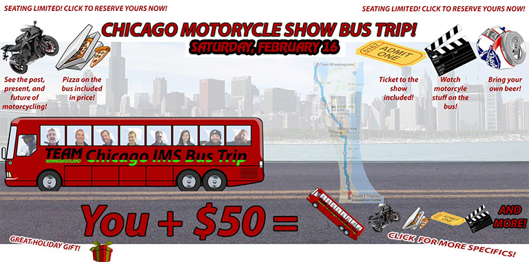 CHICAGO MOTORCYCLE SHOW BUS TRIP FROM OSHKOSH WI