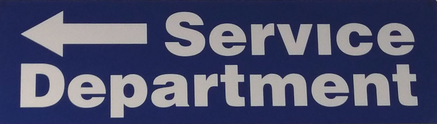 Service Department Blue Sign