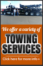 We offer a variety of towing services! Click here for more info »