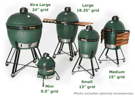 Four sizes of The Big Green Egg - mini, small, medium, and large