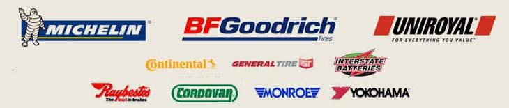 We carry products from Michelin®, BFGoodrich®, Uniroyal®, Continental, General, Interstate Batteries, Raybestos, Cordovan, Monroe, and Yokohama.