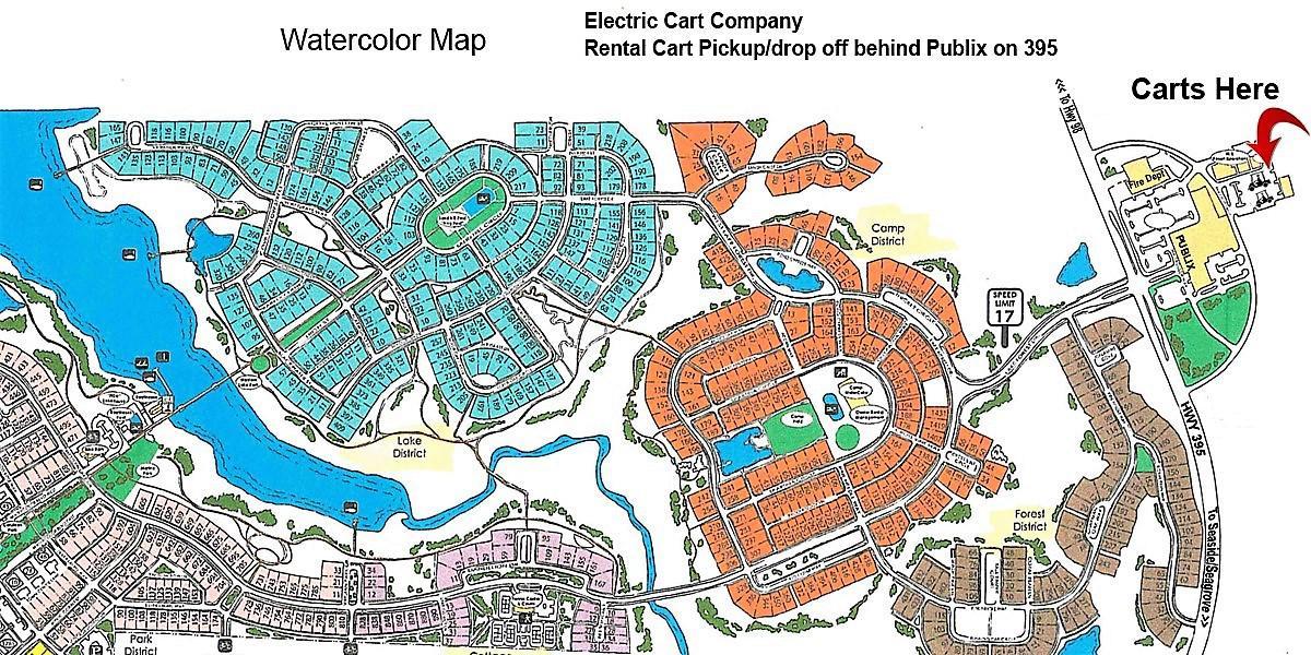 Map Of Watercolor Florida Water Color Rentals Electric Cart Company   Santa Rosa Beach Santa