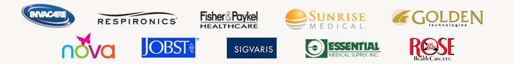We carry products from Invacare, Respironics, ResMed, Fisher & Paykel, Sunrise Medical, Golden, Nova, Jobst, Essentials, Sigvaris, and Rose Health Care, LLC.