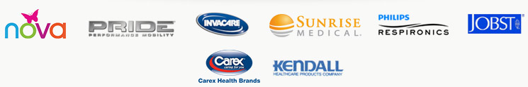 We proudly carry products from NOVA, Pride, Invacare, Sunrise Medical, Philips Respironics, Jobst, Carex, and Kendall.