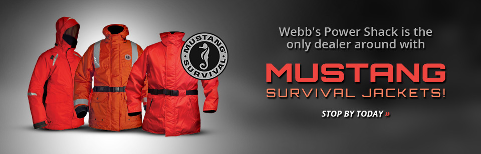Webb's Power Shack is the only dealer around with Mustang Survival jackets! Stop by today or click here to contact us for details.