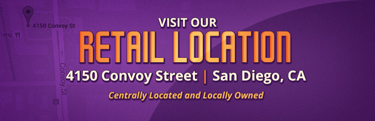 Visit our retail location at 4150 Convoy Street in San Diego, CA!