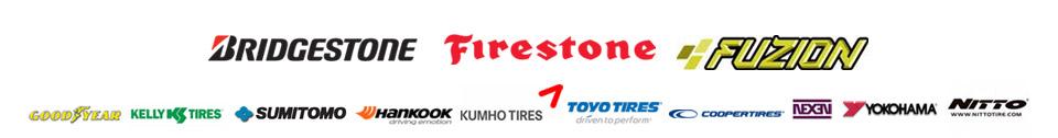 We are proud to feature brands from Bridgestone, Firestone, Fuzion,  Goodyear, Kelly, Sumitomo, Hankook, Kumho, Toyo, Cooper, Nexen, Yokohama, and Nitto!