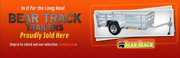 We proudly sell Bear Track trailers! Stop in to check out our selection.