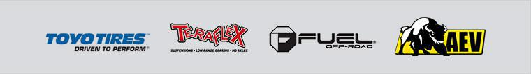 We proudly carry products from Toyo, TeraFlex, Fuel, and AEV.