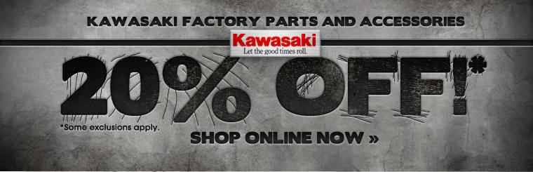 Click here to get 20% of Kawasaki factory parts and accessories.