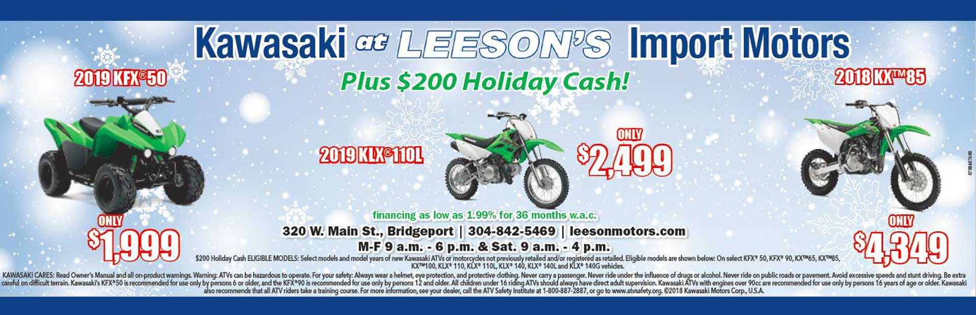 Leeson's Kawasaki Holiday Sale