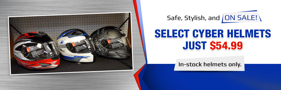 Select in-stock Cyber helmets are now just $54.95! Contact us for details.