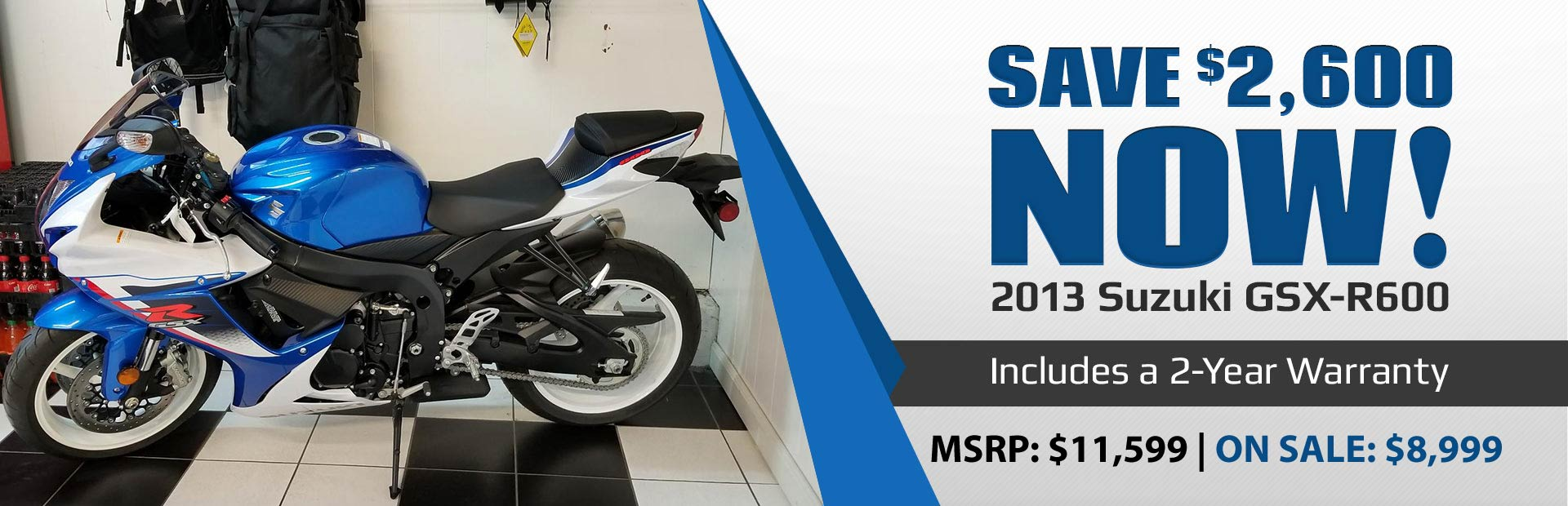 Save $2,600 now on the 2013 Suzuki GSX-R600!