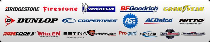 We offer products from Bridgestone, Firestone, Michelin®, BFGoodrich®, Goodyear, Dunlop, Cooper, ACDelco, Nitto, Code 3, Whelen, Setina, Streamlight, Pro-gard, Jotto Desk, Auto Additions, and Patrol Power. We are ASE certified.