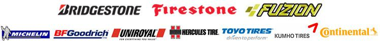 We carry Bridgestone, Firestone, Fuzion, Michelin®, BFGoodrich®, Uniroyal®, Hercules, Toyo Tires, Kumho, and Continental.
