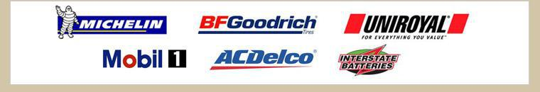 We proudly carry Michelin®, BFGoodrich®, Uniroyal®, Mobil 1, ACDelco, and Interstate Batteries.