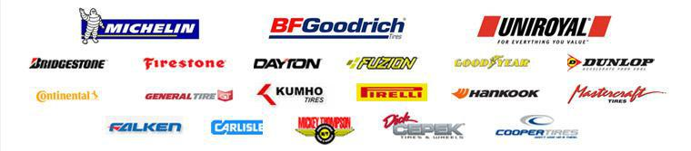 We carry Michelin®, BFGoodrich®, Uniroyal®, Bridgestone, Firestone, Dayton, Fuzion, Goodyear, Dunlop, Continental, General, Kumho, Pirelli, Hankook, Mastercraft, Falken, Carlisle, Mickey Thompson, Dick Cepek, and Cooper products.
