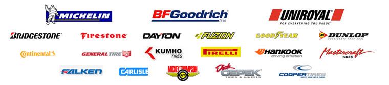 We carry Michelin®, BFGoodrich®, Uniroyal®, Bridgestone, Firestone, Dayton, Fuzion, Goodyear, Dunlop, Continental, General, Kumho, Pirelli, Hankook, Mastercraft, Falken, Carlisle, Mickey Thompson, Dick Cepek, and Cooper products.
