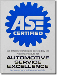 We are ASE certified.