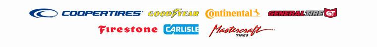 We carry products from Cooper, Goodyear, Continental, General Tire, Firestone, Carlisle, and Mastercraft.