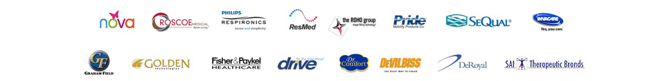 We carry products from Nova Ortho-Med, Roscoe, Respironics, ResMed, ROHO, Pride, SeQual, Medline, Medela, Invacare, Graham-Field, Golden Technologies, Fisher & Paykel, Drive Medical, Dr. Comfort, DeVilbiss, DeRoyal, and Sai Therapeutic Brands.