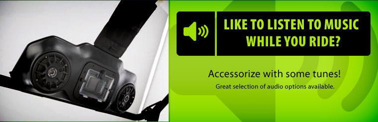 Do you like to listen to music while you ride? Accessorize with some tunes, we have a great selection of audio options available! Click here to shop.