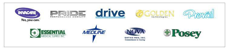 We are proud to offer products from Invacare, Pride, Drive, Golden Technologies, Prevail, Essential Medical Supply, Medline, Nova Ortho-Med, and Posey!