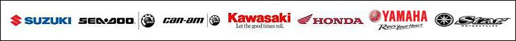 We proudly carry products from Suzuki, Sea-Doo, Can-Am, Kawasaki, Honda, and Yamaha.